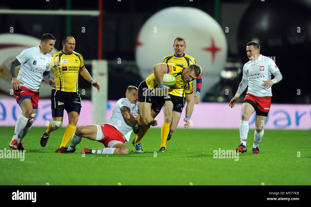 WARSAW, POLAND-NOVEMBER 14,  2015: Inernational Friendly  rugby game Poland - Moldova Europe Rugby Cup - Stock Image