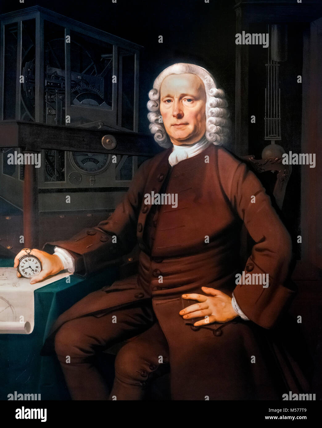 John Harrison (1693-1776), the english clockmaker, portrait by Thomas King, c.1766. Harrison is most famous for Stock Photo