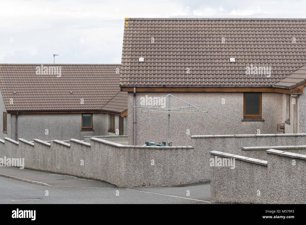 pebble dash houses, Kirkwall, Orkney Islands, Scotland, UK - Stock Image