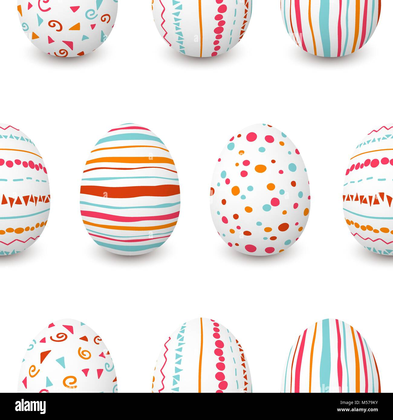 Set of white Easter eggs seamless pattern. simple pink, orange, red, blue stripes, patterns points, confetti, waves, Stock Vector