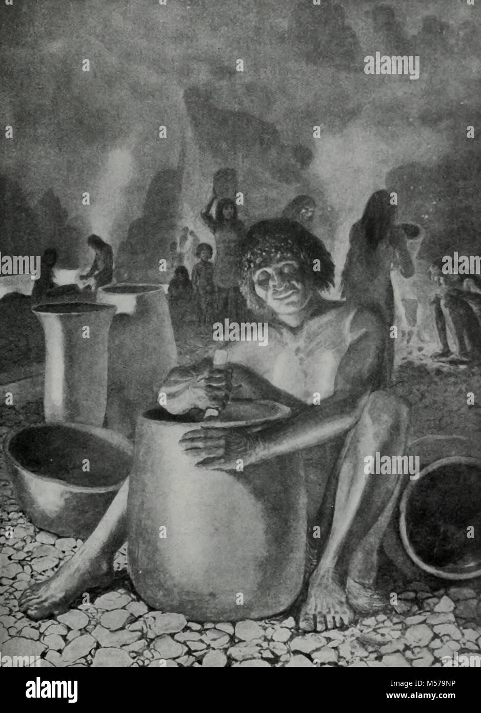 Early Egyptians making Pottery 10,000 years ago - Stock Image