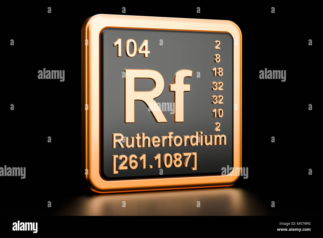 Rutherfordium Rf, chemical element. 3D rendering isolated on black background Stock Photo