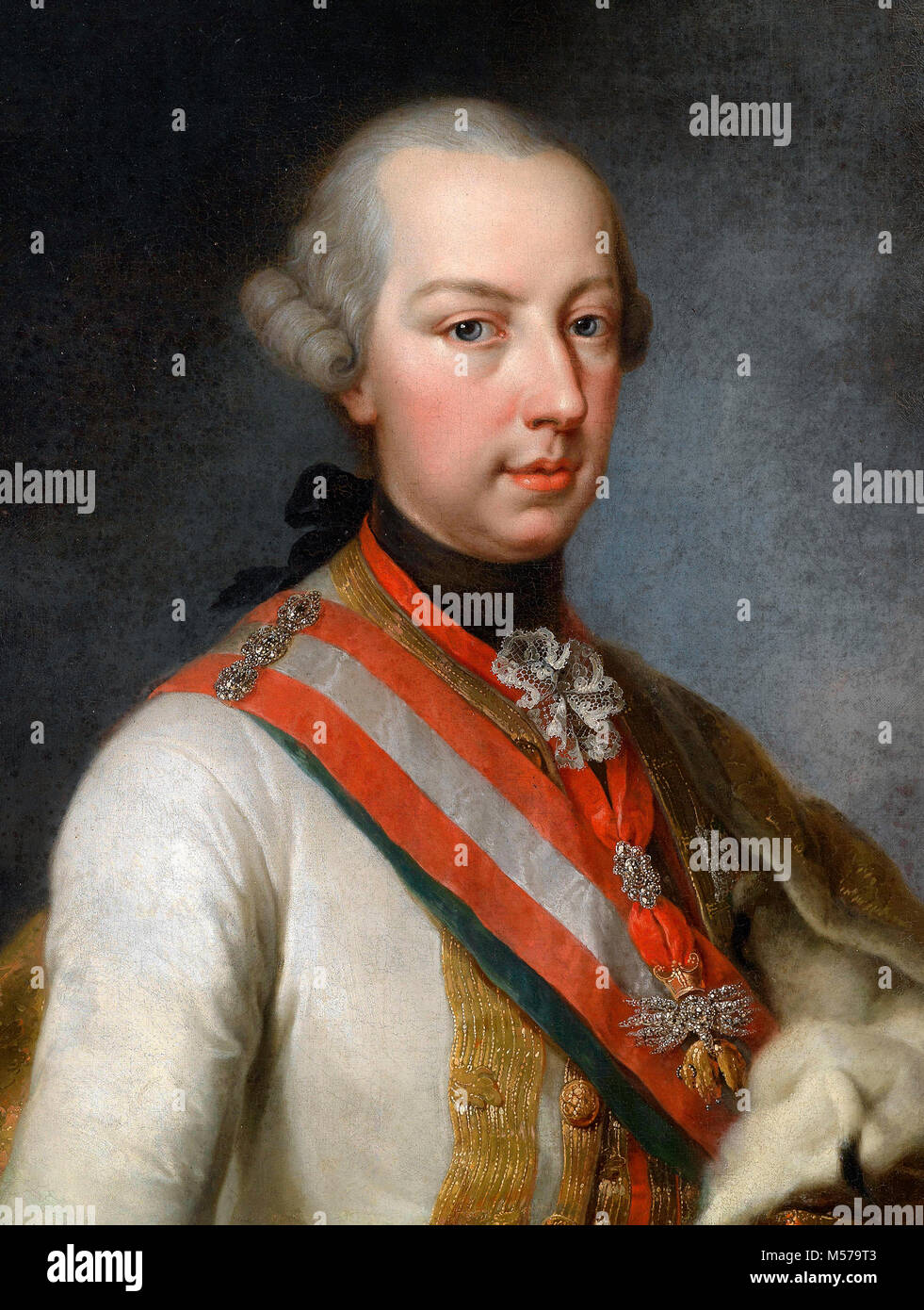 Portrait of the later Emperor Joseph II of Austria, as co-regent of his mother - Joseph Hickel - Stock Image