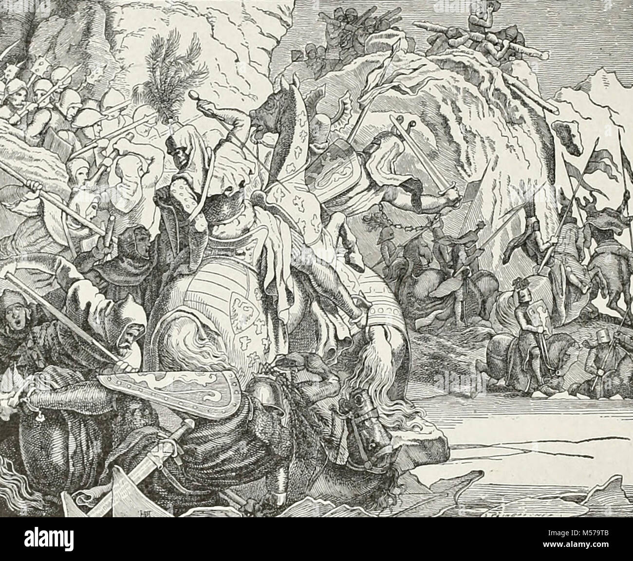 The Battle at Morgarten. The Battle of Morgarten occurred on 15 November 1315, when a 1,500-strong force from the - Stock Image