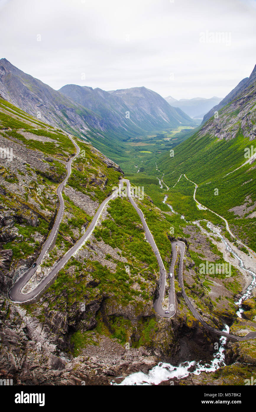 Trollstigen mountain road in Norway - Stock Image