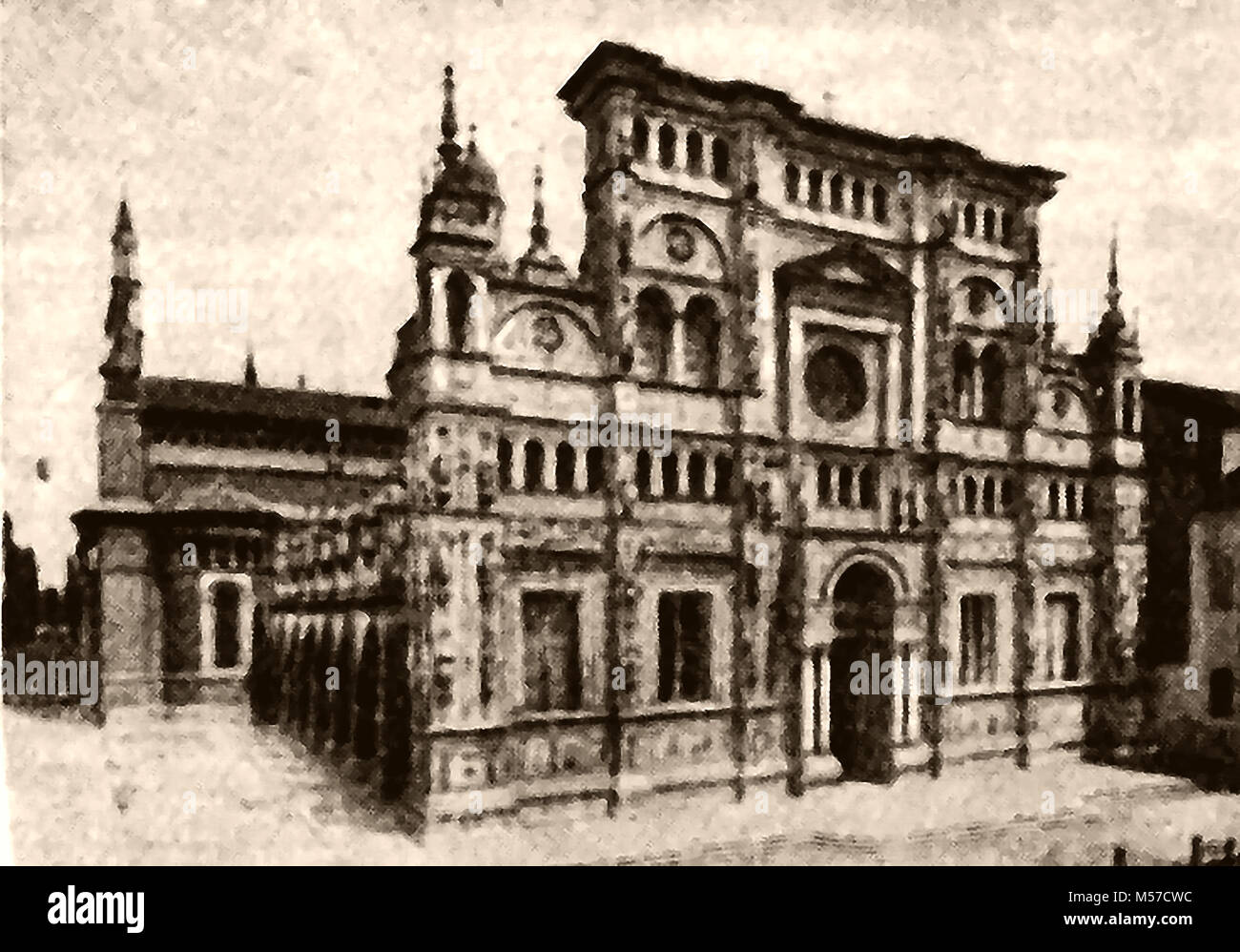A 1921 image of the facade of the Certosa or Carthusian Monastery, Pavia, Italy (completed C1465) - Stock Image