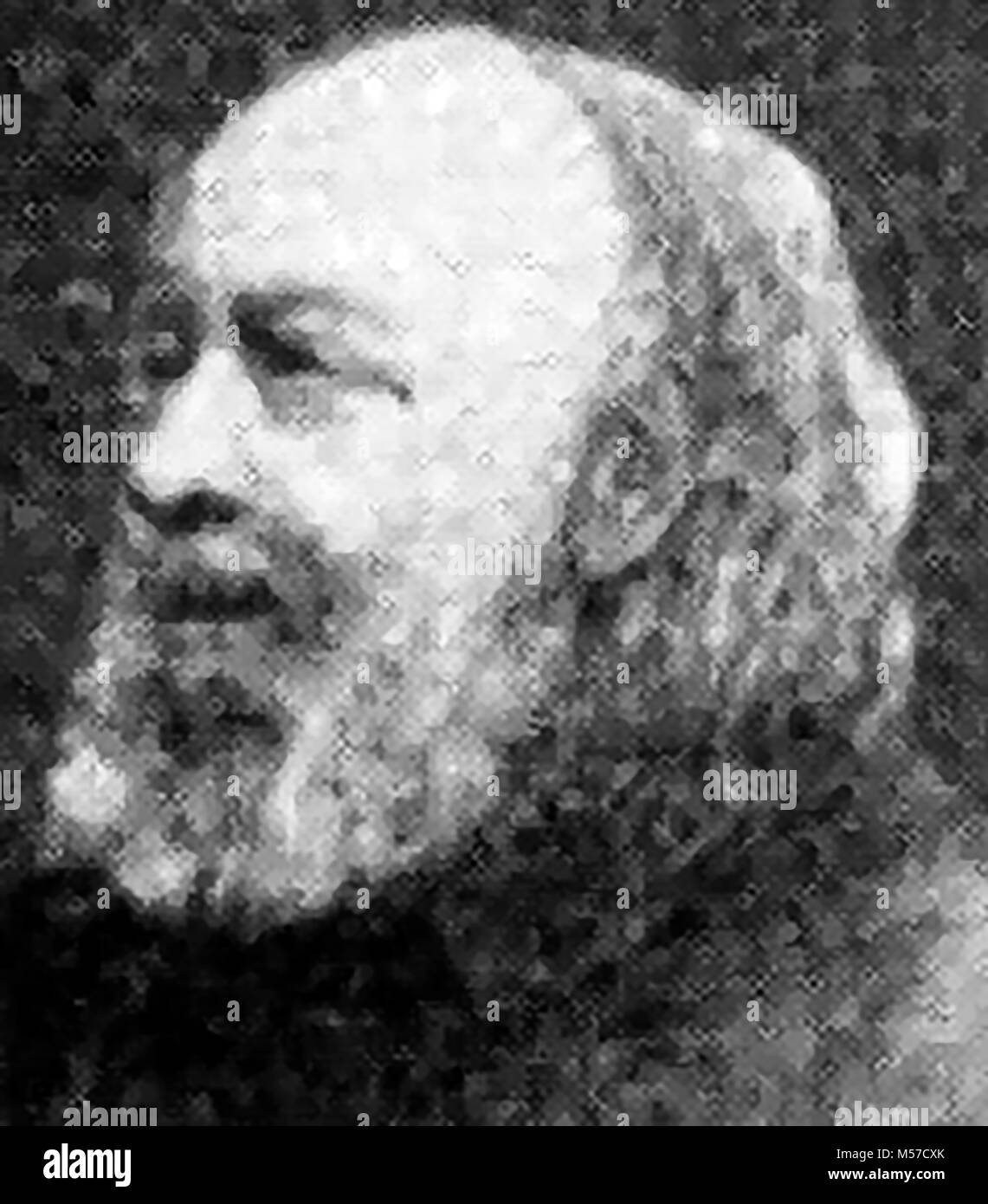 A 1921 printed portrait of   Sir Edwin Chadwick, British reformer (1800-1890) known for his work on poor laws and - Stock Image