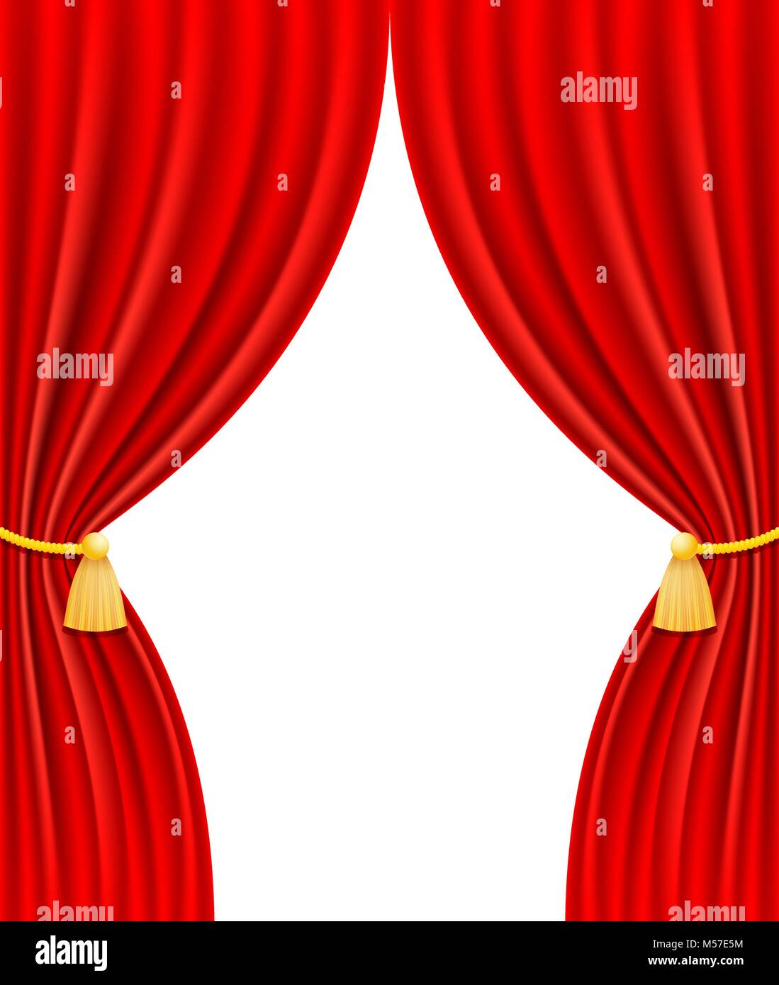 red theatrical curtain vector illustration isolated on white background - Stock Vector