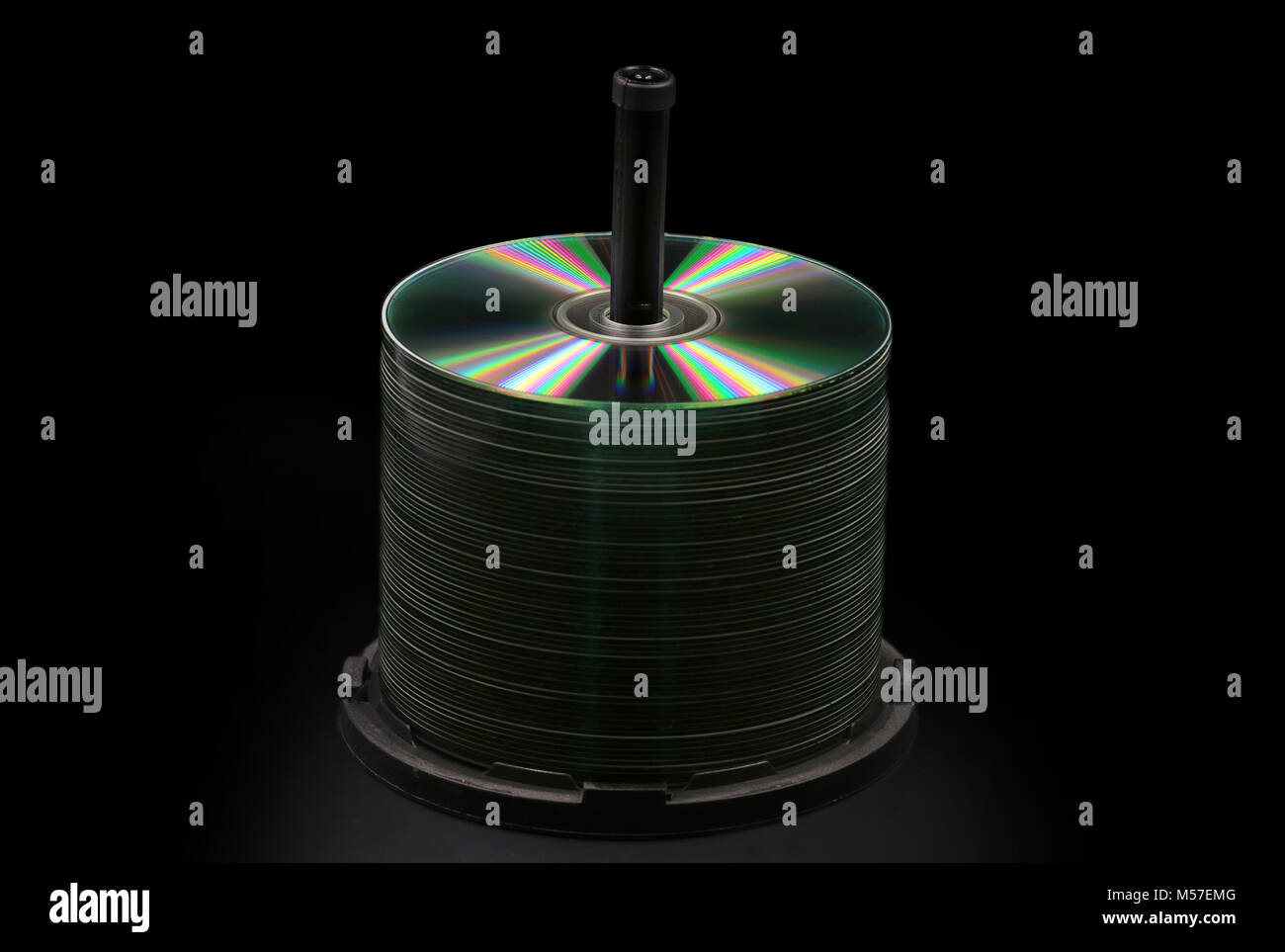 Blank DVD, CD Discs isolated on black Stock Photo
