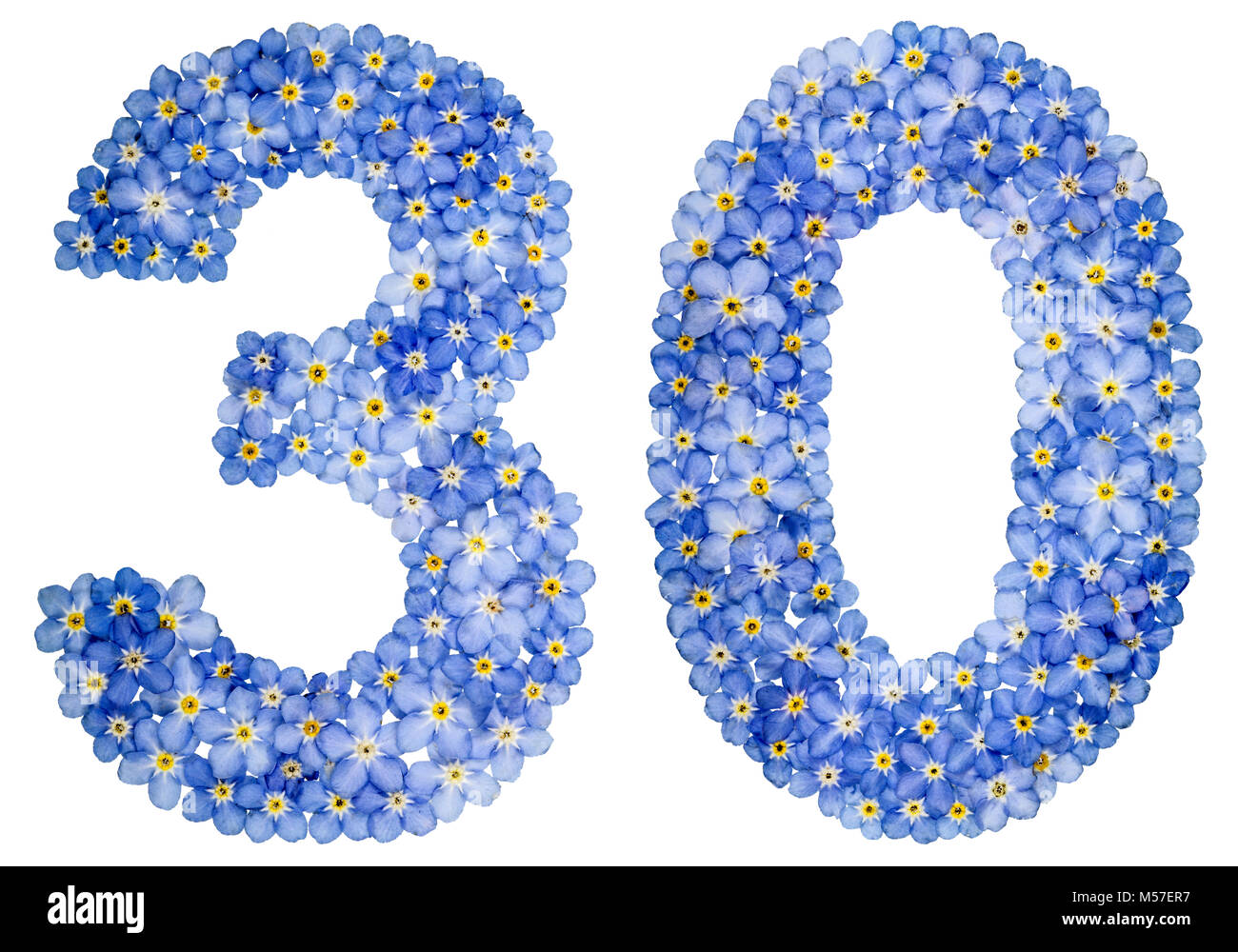 Arabic numeral 30, thirty, from blue forget-me-not flowers Stock Photo