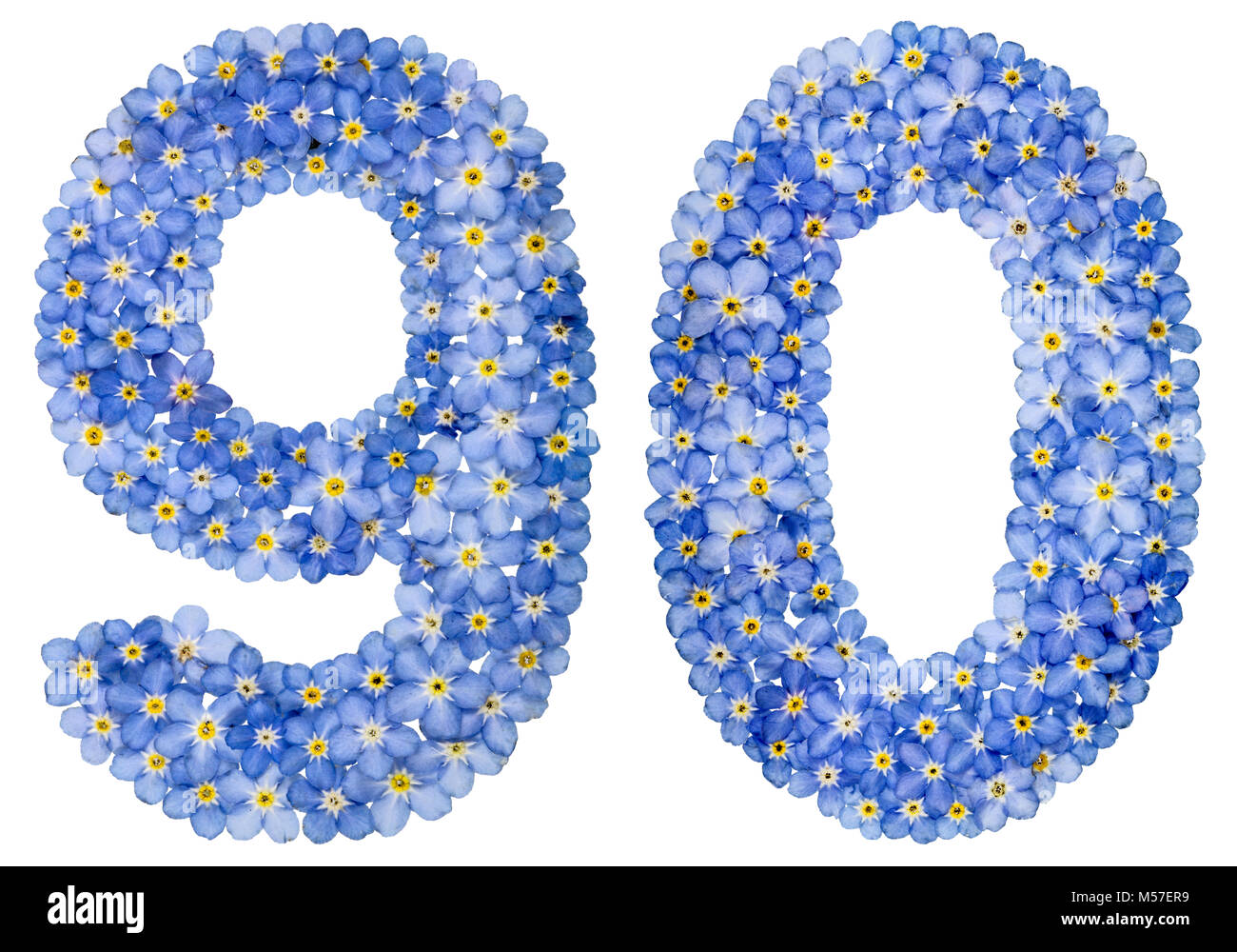 Arabic numeral 90, ninety, from blue forget-me-not flowers - Stock Image