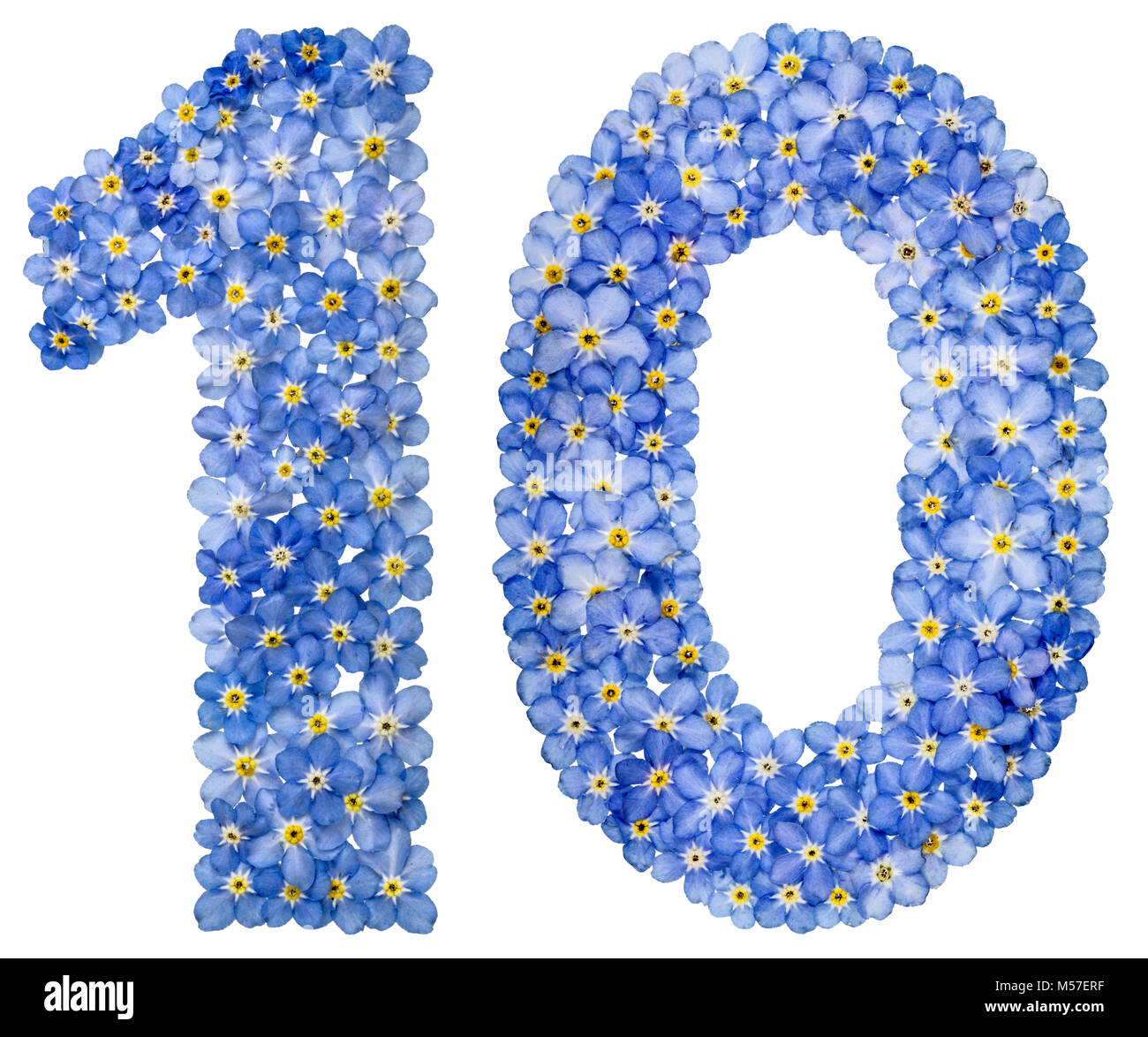 Arabic numeral 10, ten, from blue forget-me-not flowers - Stock Image