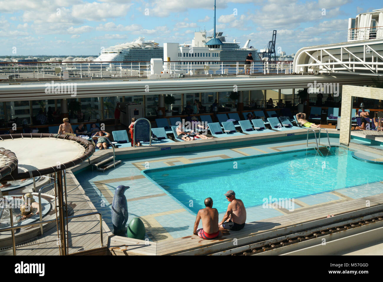 On cruise ship Niew Amsterdam, Caribbean and Florida - Stock Image