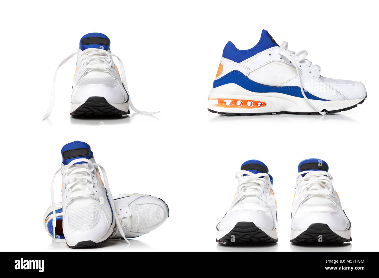 Running shoes,blue and white sports shoes isolated on white background, four different angle. Stock Photo