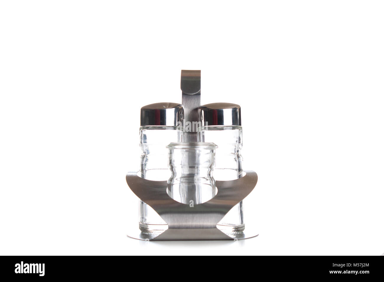 salt and pepper shaker mills isolated on white. - Stock Image