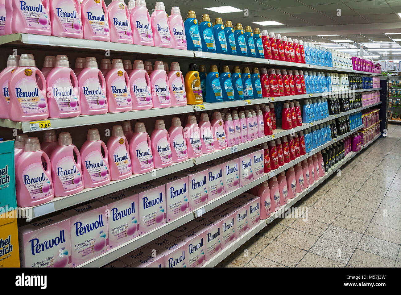 Shelf with detergent in a supermarket,Germany - Stock Image