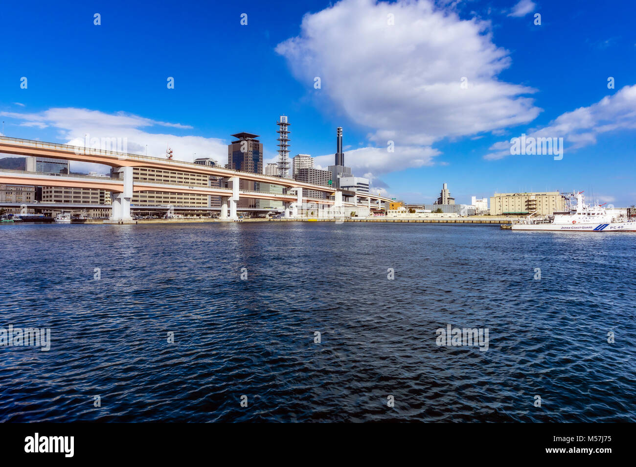 Port with skyline,Kobe,Japan - Stock Image