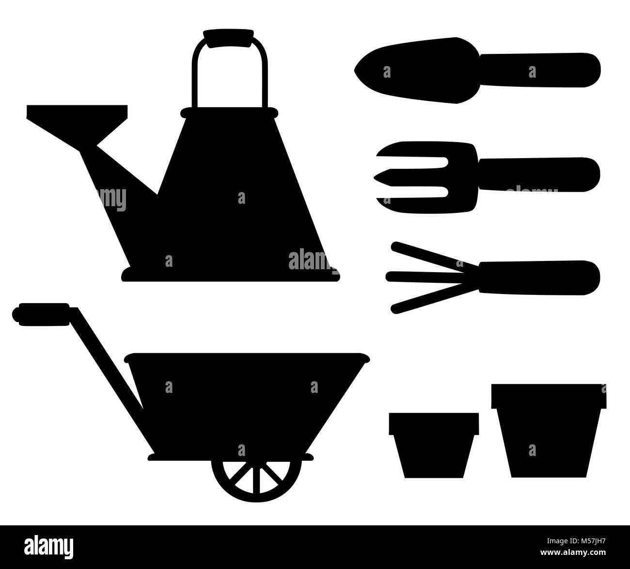 Set of black silhouettes objects for garden iron watering can shovel flower pots rake on white background vector Stock Vector