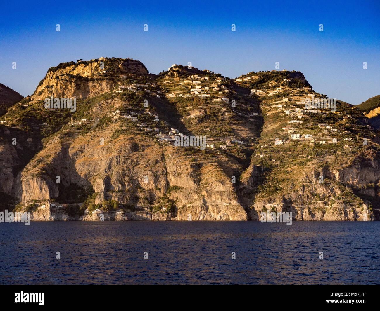Amalfi coast with typical Italian buildings on hillside, Italy. - Stock Image
