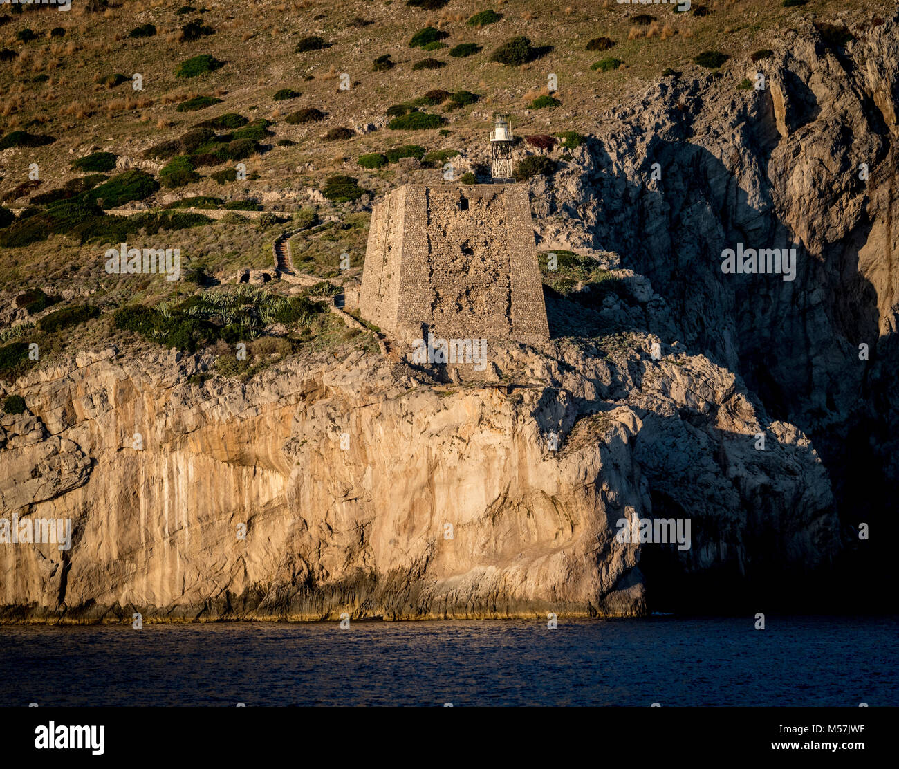 Torre Montalto guard tower, Tower of Punta Campanella in Massa Lubrense, Gulf of Naples, Campania, Italy. - Stock Image