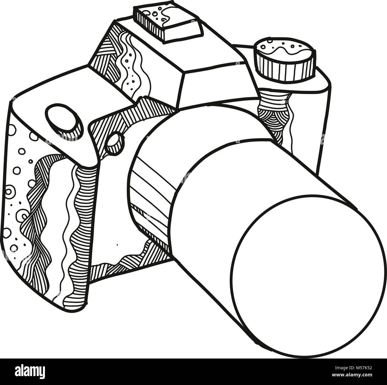 Doodle art illustration of a DSLR camera, digital SLR or digital single-lens reflex camera done in mandala style. - Stock Vector