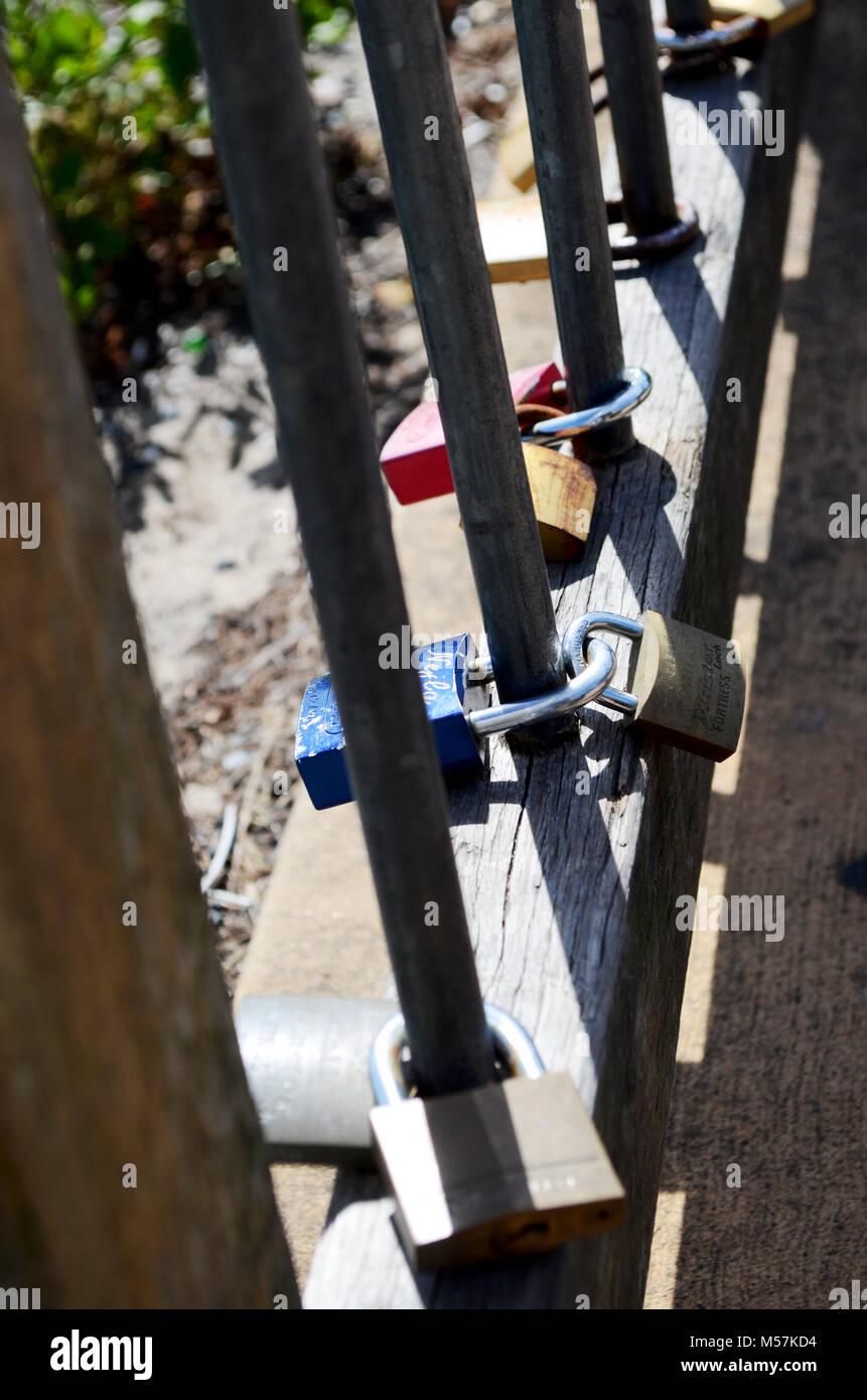Padlocks on fence Stock Photo