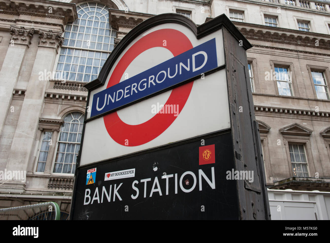 A sign for Bank Station in central London, England - Stock Image
