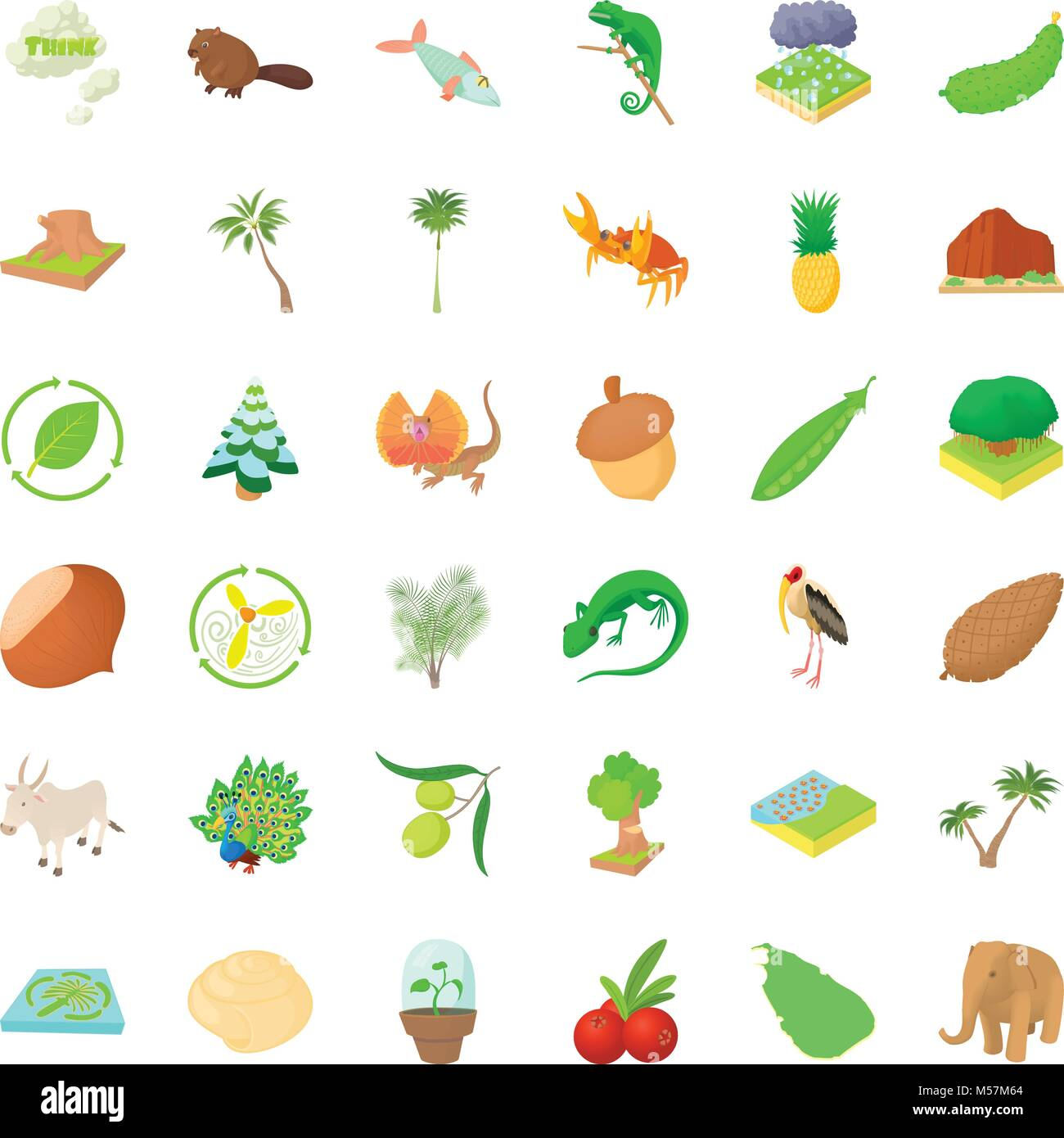 Natural riches icons set, cartoon style - Stock Image
