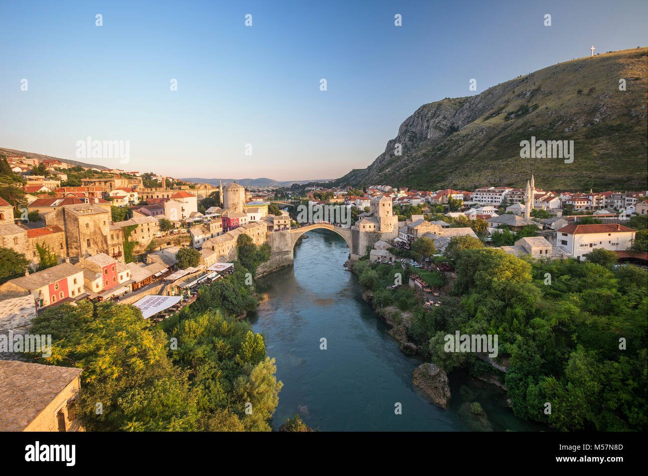 An aerial view of the Neretva river which runs across old town of Mostar and its Old Bridge (Stari Most) area (Bosnia - Stock Image