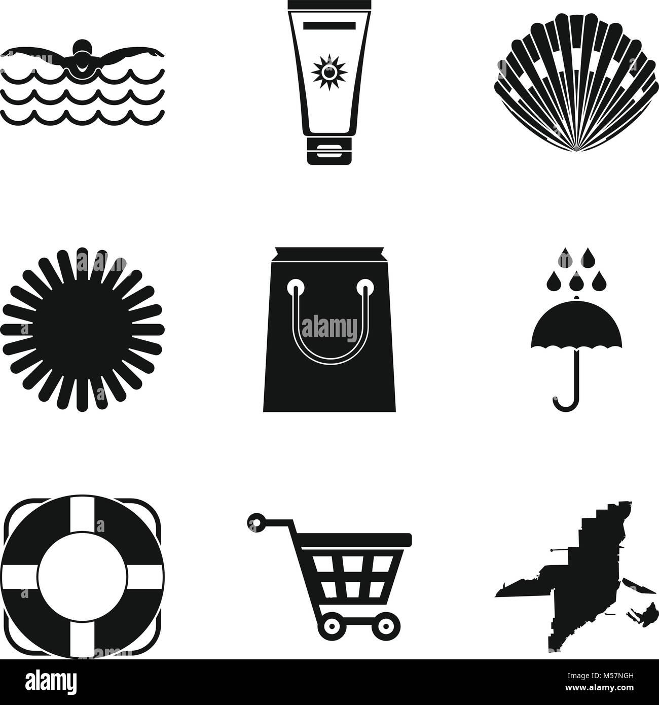 Seaside resort icons set, simple style - Stock Vector