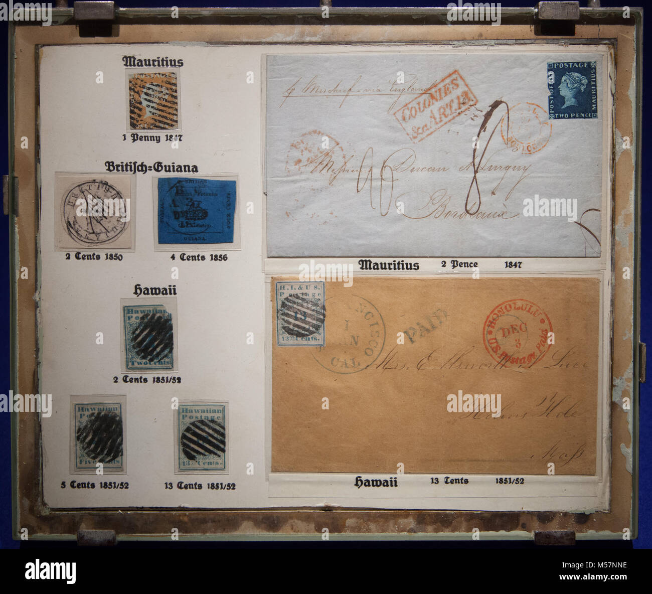 Rare stamps shown in the Museum für Kommunikation in Berlin, such as Mauritius 'Post Office' stamps - Stock Image