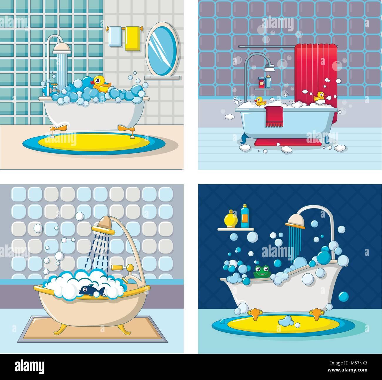 Bathtub foam banner concept set, cartoon style Stock Vector Art ...