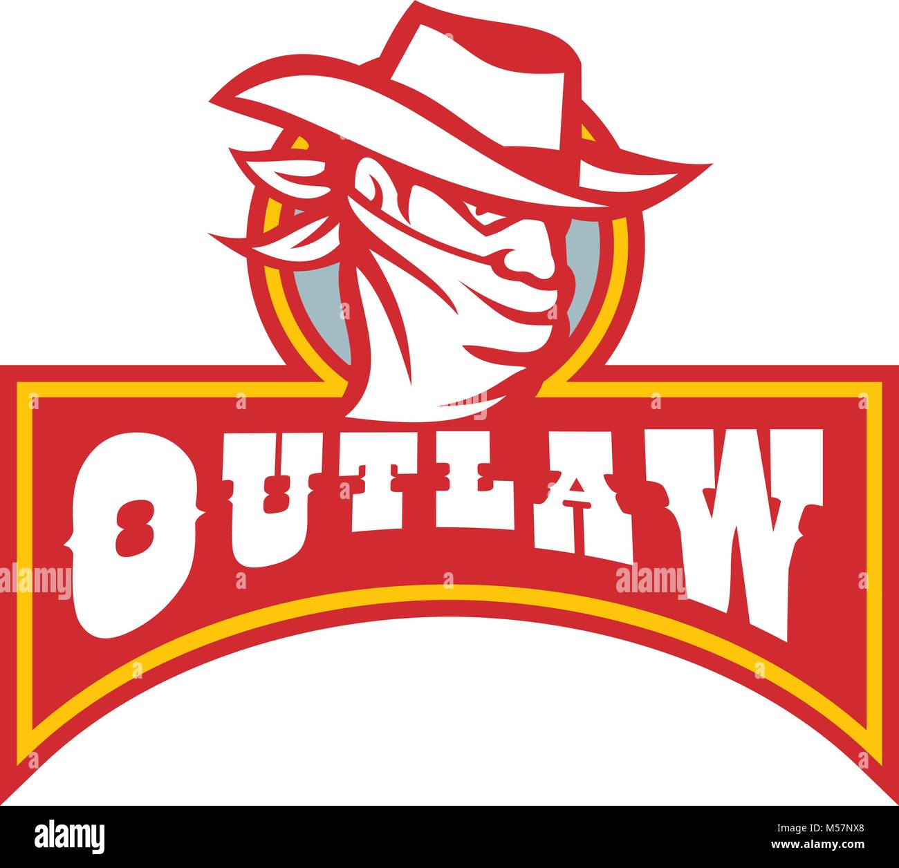 Retro Style Illustration Of A Cowboy Outlaw Or Bandit Wearing Bandana Covering His Face With Banner And Text On Isolated Background