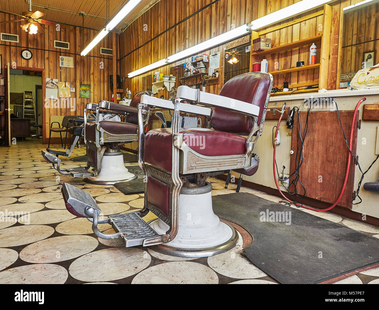 Old Vintage, Barber Chairs In An Empty Small Town Barber Shop Interior In  Prattville Alabama, USA.