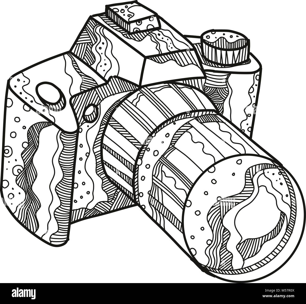 Doodle art illustration of a DSLR camera, digital SLR or digital single-lens reflex camera done in mandala style. - Stock Vector