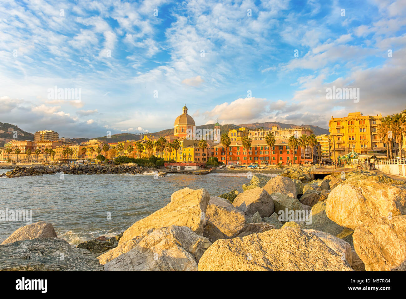 Beautiful Village On The Sea, Italian Coast, Genoa, (Genova) Pegli, Italy,  Europe