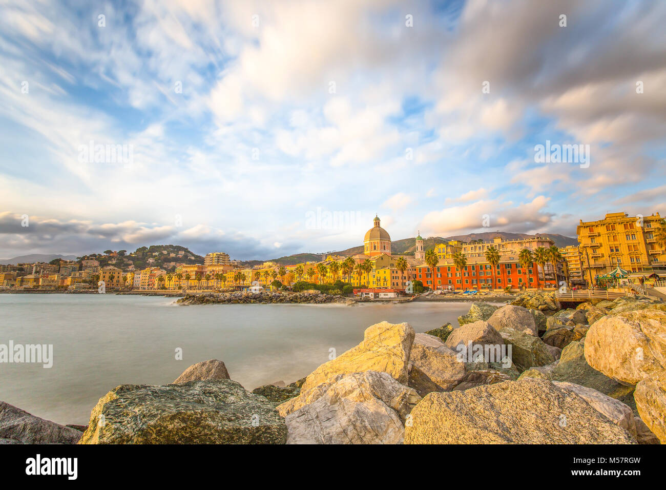 Beautiful Village On The Sea, Italian Coast, Genoa, (Genova) Pegli, Italy,  Long Exposure