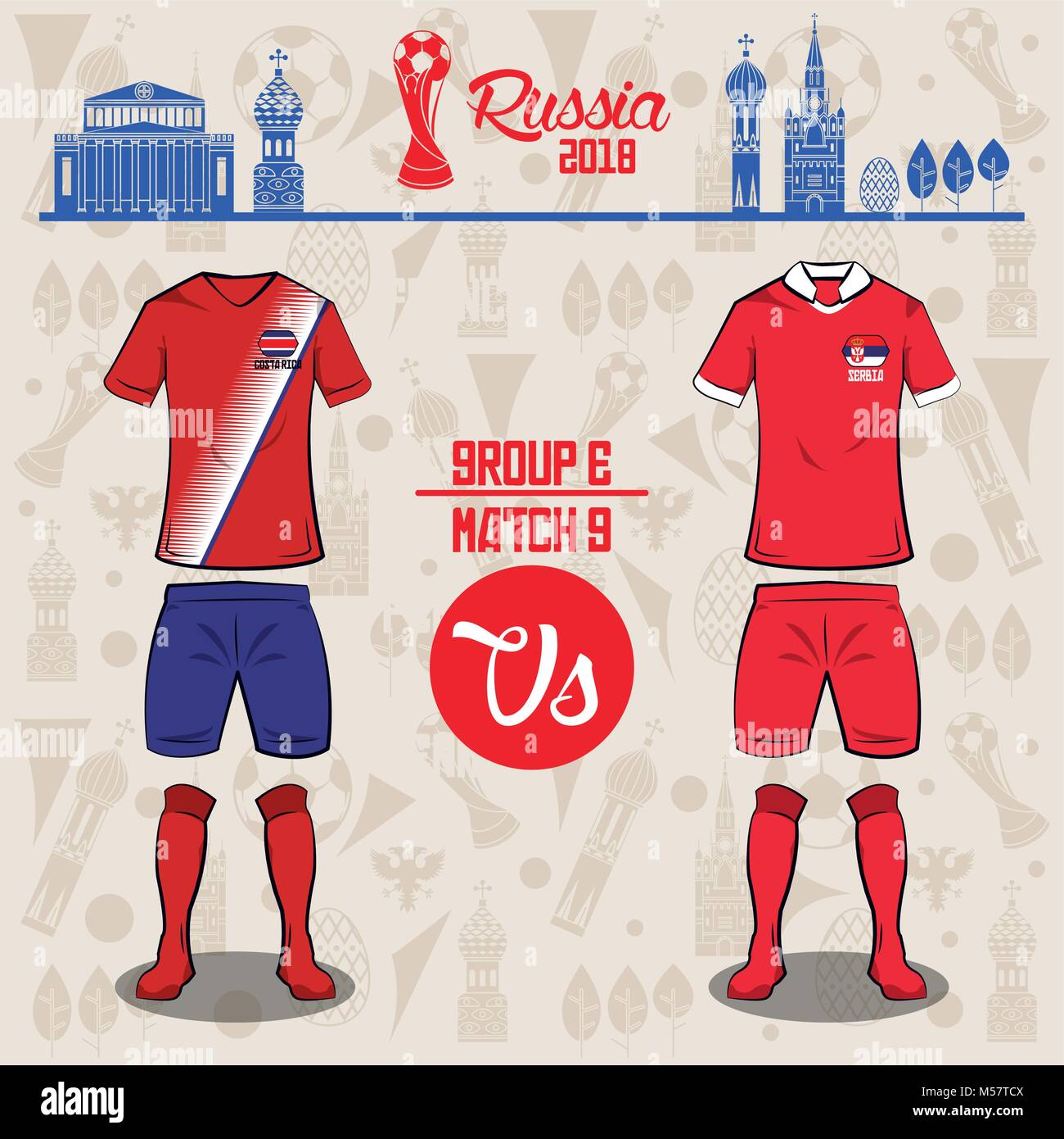 50fab232788 Football world russia 2018 match - Stock Vector