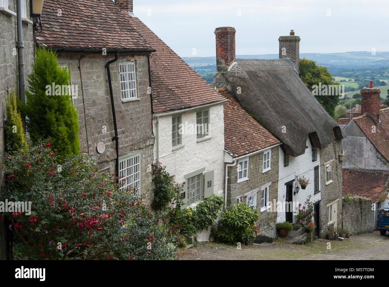 Gold Hill, Shaftsbury, Dorset, England - Stock Image