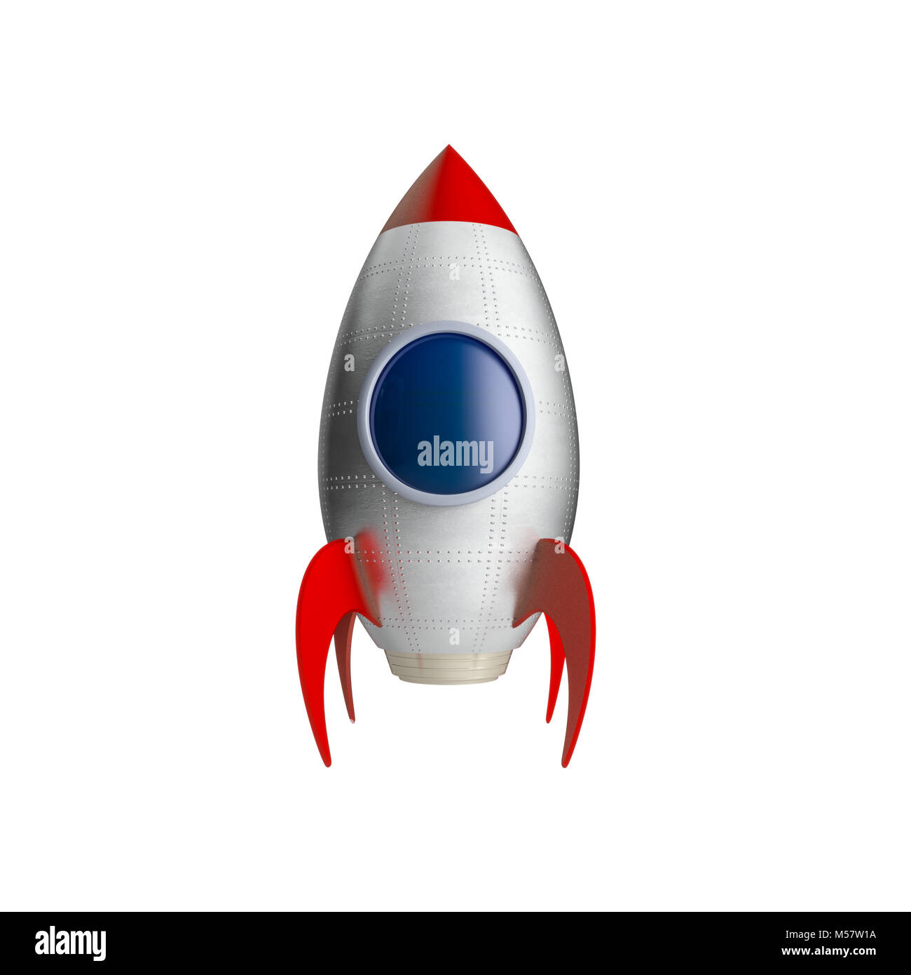 classic toy spaceship isolated on white background 3d rendering image Stock Photo