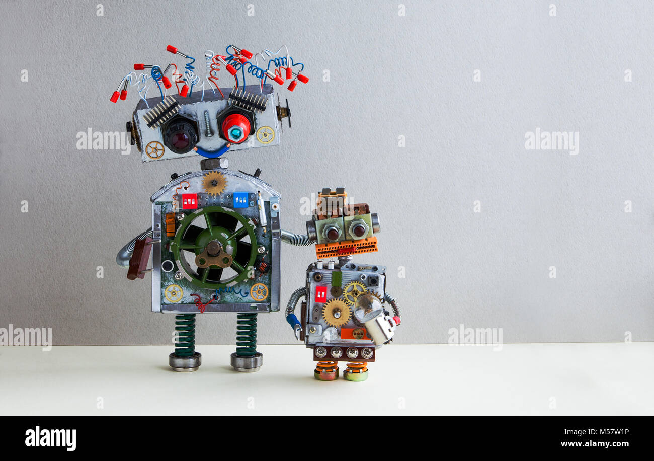 Robotic family. Big robot electrical wire hairstyle, plug arm. Small ...