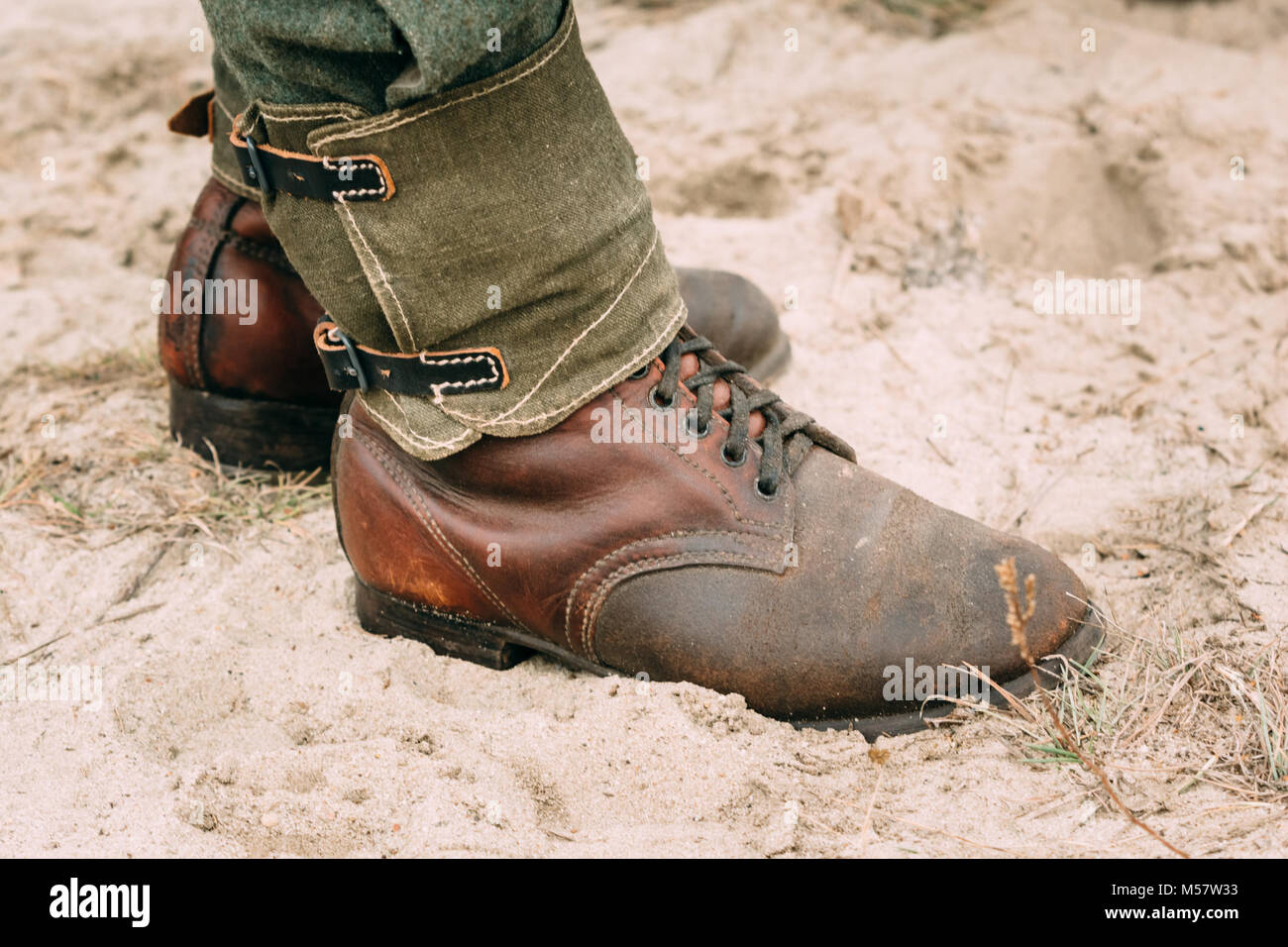 Soldier Boots German Army World War II. Close-up - Stock Image