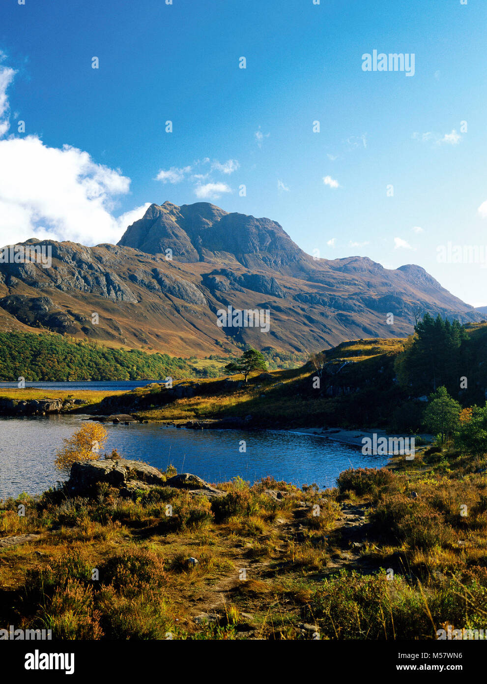 Slioch mountain and Loch Maree, near Kinlochewe in Wester Ross, Highland, Scotland - Stock Image