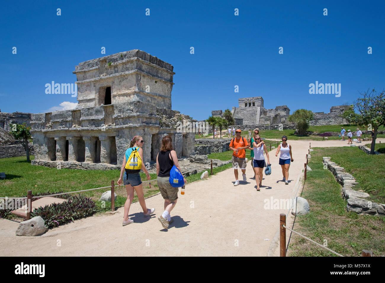 Maya ruins at Tulum, Archeological zone, Tulum, Riviera Maya, Yucatan, Quintana Roo, Mexico, Caribbean - Stock Image