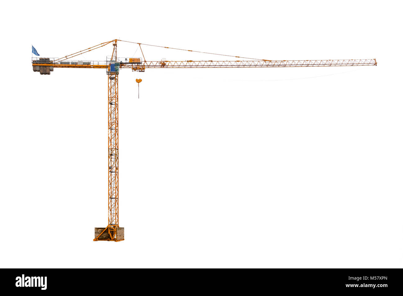 real high construction crane ready to work isolated on white background - Stock Image