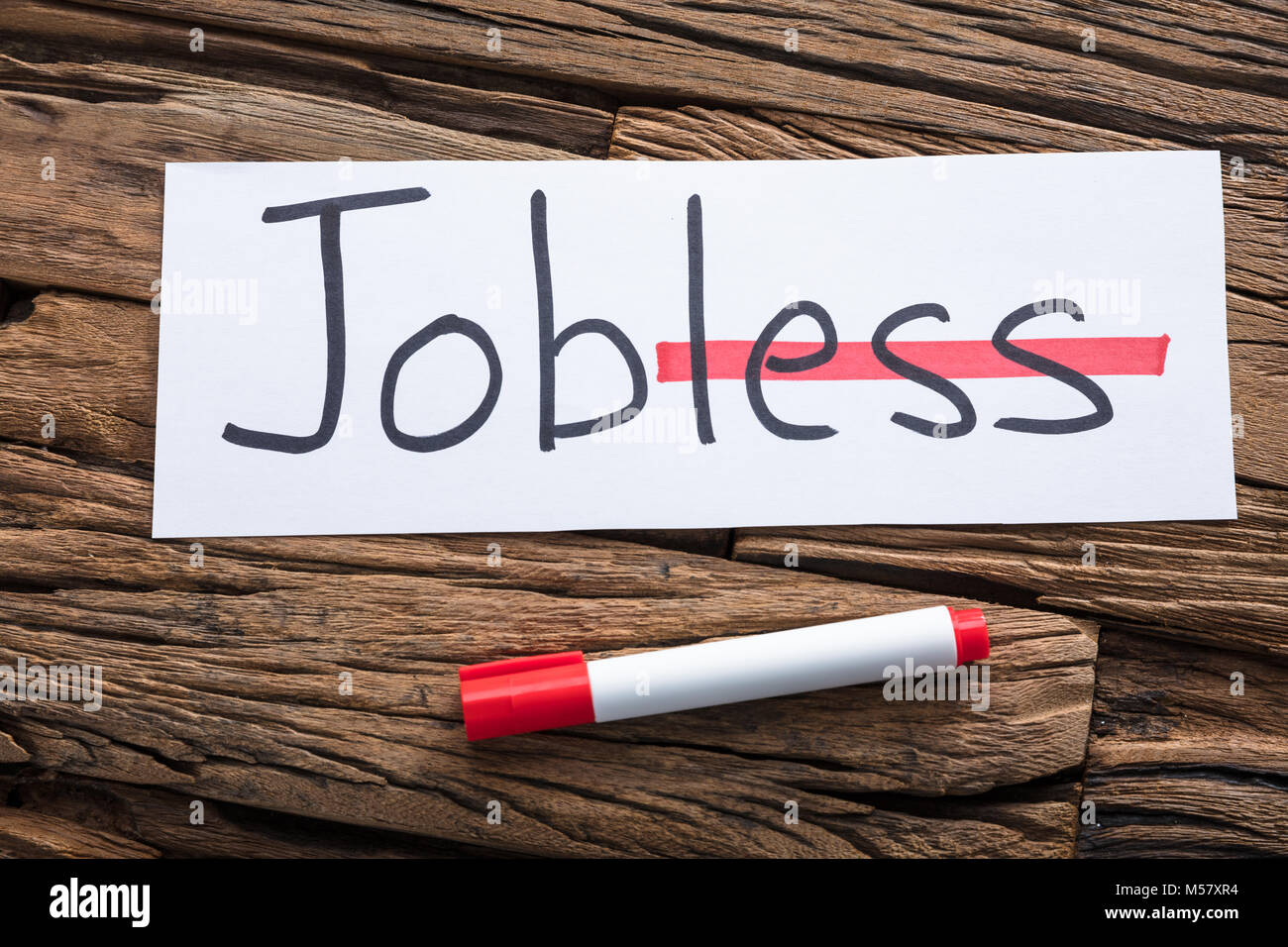 Closeup of jobless text on paper with strike on less word by marker on wood - Stock Image