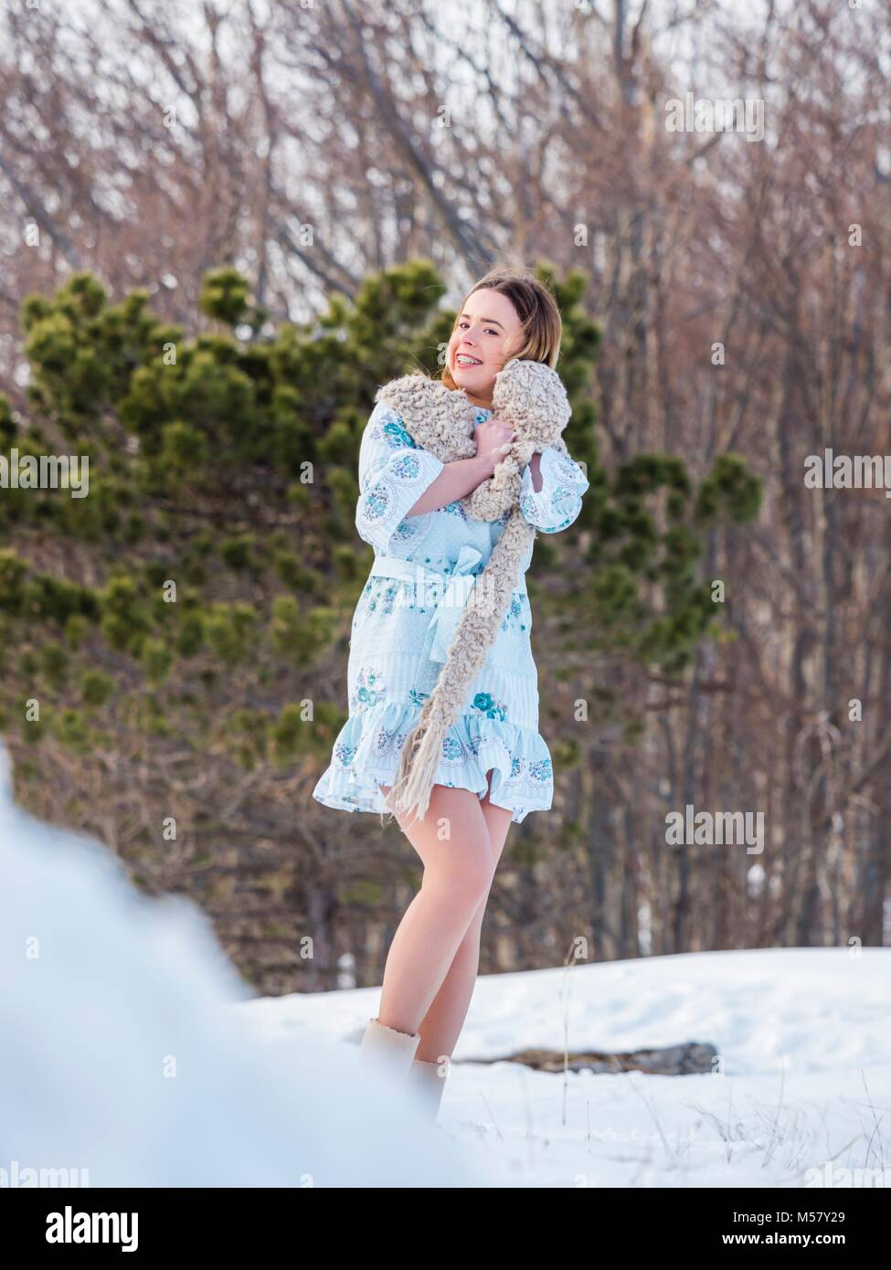 Young woman on snow - Stock Image