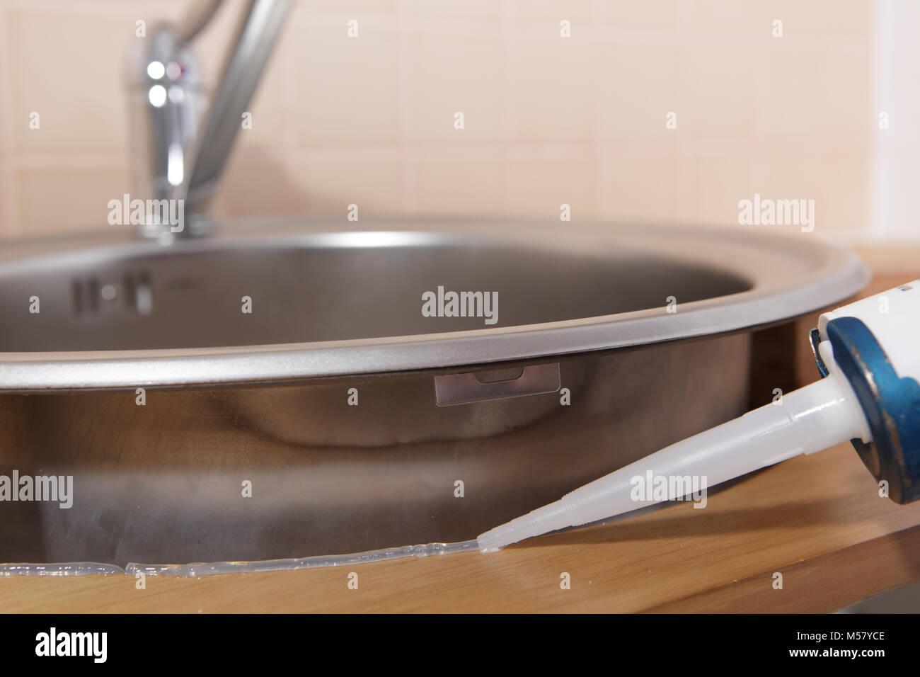 silicone sealant stock photos silicone sealant stock images alamy. Black Bedroom Furniture Sets. Home Design Ideas