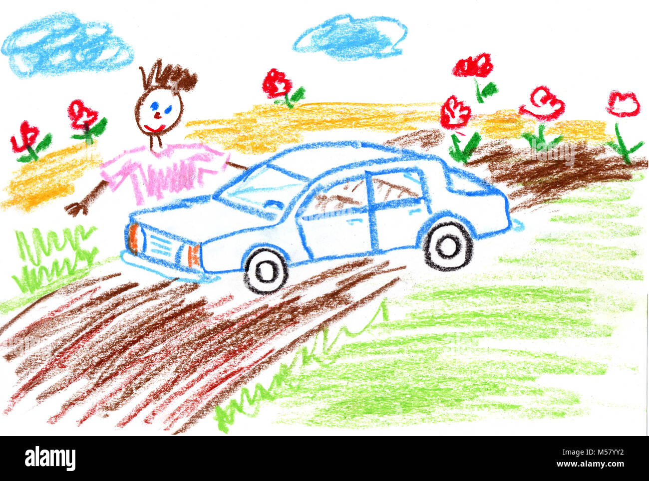 Kid S Drawing Dad And His Car Stock Photo 175352550 Alamy