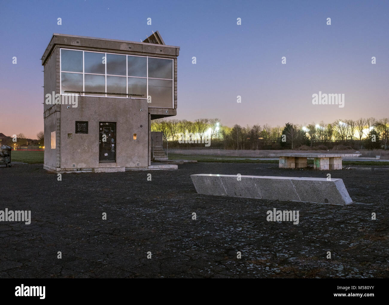 Building of the Skatepark Vogelfreiheit in the Berlin park Tempelhofer Feld. Stock Photo